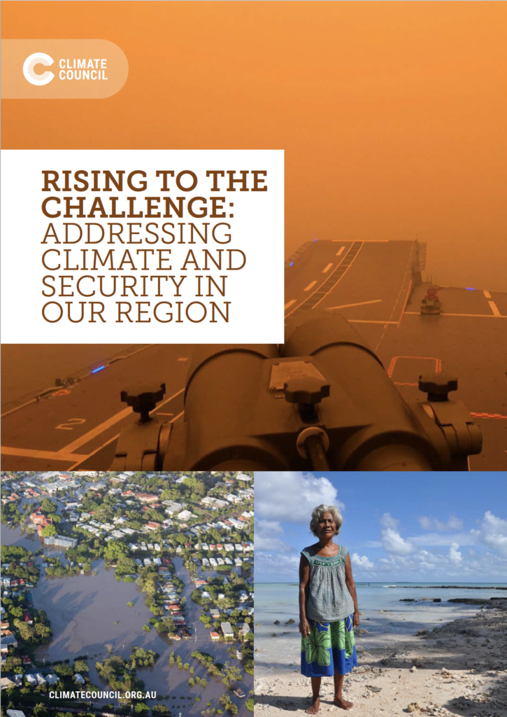 The cover of CLimate Council report about security and climate change. 3 images as a collage.